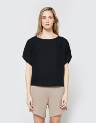 Black Crane Linen Box Tee In Black