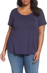 Sejour Plus Size Women's Scoop Neck Tee Navy Dusk