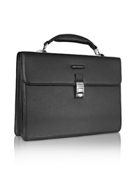 Piquadro Modus Black Leather Laptop Briefcase