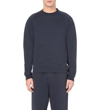 Oliver Spencer Crew Neck Cotton Jersey Sweatshirt Navy