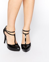 Little Mistress Tbar Platform Heeled Shoes Black