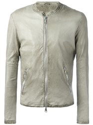 Giorgio Brato Banded Collar Leather Jacket Grey