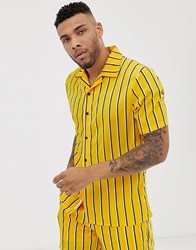 Liquor N Poker Co Ord Revere Shirt In Mustard With Stripe Multi