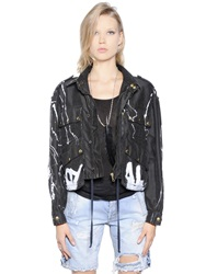 Faith Connexion Cropped Graffiti Cotton Canvas Jacket Black