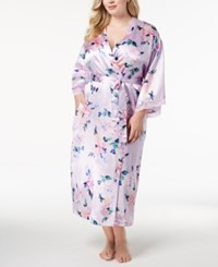 Thalia Sodi Plus Size Floral Print Lace Trim Robe Created For Macy's Watercolor Floral