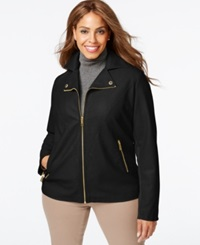 Kenneth Cole Plus Size Faux Leather Bomber Jacket