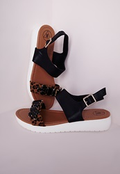 Missguided Jewelled Sporty Sandals Black Black