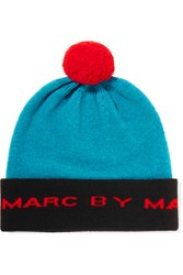 Marc By Marc Jacobs Color Block Merino Wool Beanie Teal