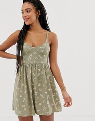 Pull And Bear Pacific A Line Dress In Green Floral Print Green