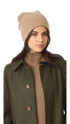 White Warren Cashmere Plush Rib Beanie Camel Heather