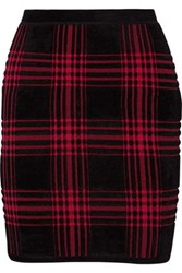 Alexander Wang Buffalo Plaid Stretch Chenille Mini Skirt Red