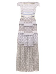 Peter Pilotto Gaze Off The Shoulder Smocked Dress White Black