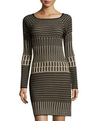 Max Studio Long Sleeve Sweater Dress Black Champagne