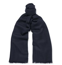 Johnstons Of Elgin Fringed Cashmere Scarf Navy
