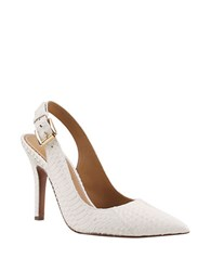 Kay Unger Zahara Snakeskin Point Toe Slingback Pumps Winter White