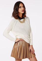 Missguided Livia Faux Leather Pleated Skater Skirt Camel Beige