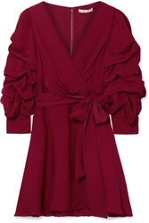 Alice Olivia Santina Ruched Wrap Effect Silk Crepe De Chine Mini Dress Burgundy