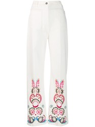 Etro Flared Embroidered Jeans White