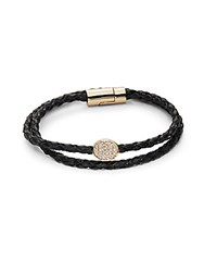 Saks Fifth Avenue Crystal And 14K Gold Plated Bracelet Gold Black