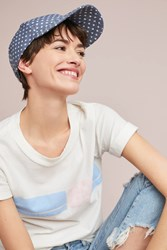 Anthropologie Polka Dot Baseball Cap Blue Motif