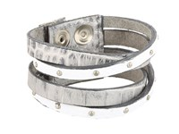 Leather Rock B453 Silver Bracelet