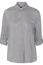 Alice Olivia Richley Striped Woven Shirt Gray