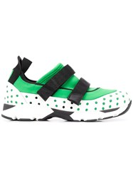 Marni Perforated Touch Strap Sneakers Green