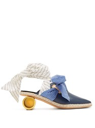 J.W.Anderson Cylinder Heel Leather Mules Blue Multi