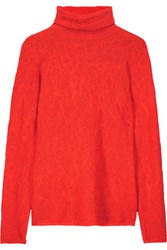 M Missoni Stretch Knit Jacquard Turtleneck Sweater Tomato Red
