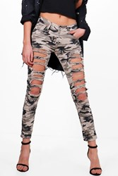 Boohoo All Over Distress Camo Skinny Jeans Camo