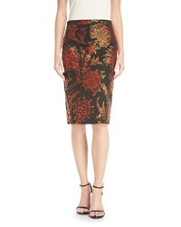 Zac Posen Floral Jacquard Pencil Skirt Black Orange