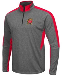 Colosseum Men's Maryland Terrapins Atlas Quarter Zip Pullover Charcoal Red