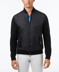 Inc International Concepts Men's Mixed Media Quilted Jacket Only At Macy's Deep Black