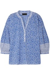 Hatch Olivia Printed Cotton Voile Blouse Blue