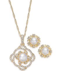 Charter Club Gold Tone Pave And Imitation Pearl Pendant Necklace And Stud Earrings Set Created For Macy's