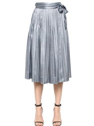 Jill Stuart Striped Silk Maxi Skirt Grey