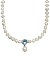 Lord And Taylor 7 16Mm White Freshwater Pearl Blue Topaz Diamond Sterling Silver Necklace