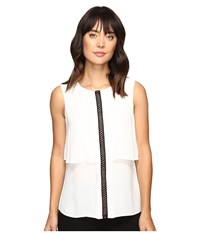 Ivanka Trump Sleeveless Double Layer Georgette Top With Contrast Trim Ivory Black Women's Clothing Multi