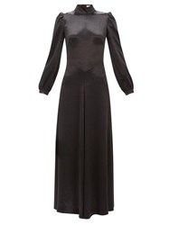 Bella Freud Ophelia Tie Back Satin Dress Black