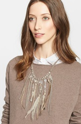 Fabiana Filippi Feather Fringe Necklace Metal White