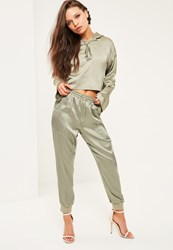 Missguided Petite Green Satin Joggers