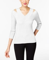 Cable And Gauge Ribbed Knit Cold Shoulder Top Ivory