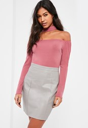 Missguided Pink Contrast Bardot Faux Leather Bottom Dress Multi