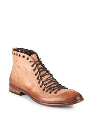Jo Ghost Eyelet Leather Ankle Boots Tan Wash