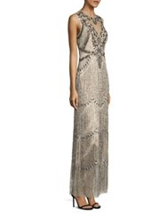 Aidan Mattox Sleeveless Beaded Fringe Gown Champagne