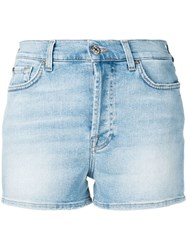 7 For All Mankind Faded Denim Shorts Blue