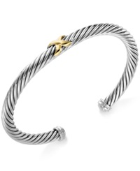 Macy's 14K Gold Over Sterling Silver And Sterling Silver 'X' Cuff Bracelet