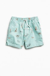 Urban Outfitters Uo Maximus Printed Short Turquoise