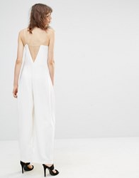 Mango Low Back Wide Leg Jumpsuit White
