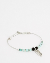 Asos Fine Bangle Feather Charm Bracelet Multi